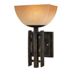 Minka Lavery - Minka Lavery 6270-357 Lineage Iron Oxide 1 Light Wall Sconce - Venetian Scavo Glass Shade