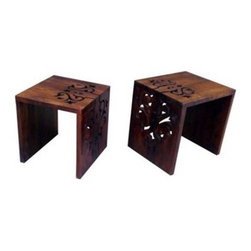 Artifacts and More - Meryl Nesting Tables, Set of 2 - Set of 2 carved nesting tables; Mango wood, natural distressing.