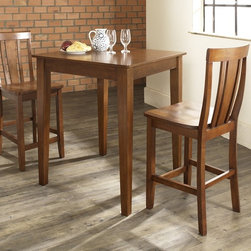 Crosley Furniture - 3 Pc Pub Dining Set w Tapered Leg and Shield - Includes Pub Table and 2 Shield Back Stools in Classic Cherry. Solid Hardwood & Veneer Construction Table . Solid Hardwood Stools. Hand Rubbed, Multi-Step Finish. Solid Hardwood Tapered Legs. Shaped Back for Comfort. Table Dimensions: 36 in. H x 32 in. W x 32 in. D. Stool Dimensions: 40 in. H x 18.5 in. W x 22.5 in. DConstucted of solid hardwood and wood veneers, the 3 piece Pub / High Dining set is built to last. Whether you are looking for dining for two, or just a great addition to the basement or bar area, this set is sure to add a touch of style to any area of your home.