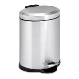 None - Oval 5-liter Stainless Steel Step Trash Can - A contemporary addition to any home or office, this 5 liter trash can boasts a sturdy construction for daily use. The steel foot pedal on this trash can provides hands-free operation to keep germs at bay.
