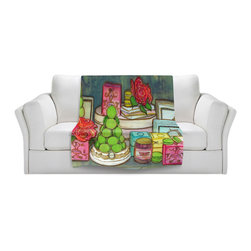 DiaNoche Designs - Throw Blanket Fleece - Diana Evans Laduree Window Shopping I - Original Artwork printed to an ultra soft fleece Blanket for a unique look and feel of your living room couch or bedroom space.  DiaNoche Designs uses images from artists all over the world to create Illuminated art, Canvas Art, Sheets, Pillows, Duvets, Blankets and many other items that you can print to.  Every purchase supports an artist!