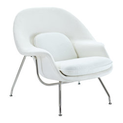 Nest Lounge and Ottoman Set in White - The view from your bay windows gets even better when you're seated in this Mid-Century Lounge Chair and Ottoman. Subtle yet elegant, the chair's welcoming silhouette makes the simple act of gazing a delight. Melt into its womb-like shell and take yourself out of the daily grind and into a state of ultimate relaxation.