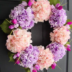 Wreaths for Doors by HomeHearthGarden - A Lovely Hydrangea Wreath in Lavender & Pink colors with Tulip accents. This spring wreath is made with artificial hydrangeas and tulips on a natural grapevine wreath base. A beautiful housewarming gift.