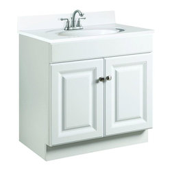 Design House - Design House Cabinets Wyndham 30 in. W x 18 in. D Unassembled Vanity Cabinet - This is the go-to 30 in. vanity for any bathroom that needs a splash of brightness. With a white semi-gloss finish and raised-panel doors this sleek piece—with a shallow 18 in. depth—will give any powder room a crisp clean appearance. Assembly of the unit is quick and straightforward utilizing a frameless full-overlay blueprint to craft a classic cabinet with two large doors giving way to ample storage space within. The medium-density fiberboard material used for this vanity is pressure-bonded with a Thermo foil coating giving it a uniform finish and water resistance to withstand years of high-humidity environs. Apply a modern contemporary flair to any bathroom with the Design House Wyndham vanity and consider an accompanying wall or medicine cabinet in white from the same collection (sold separately). Color: White Semi-Gloss.