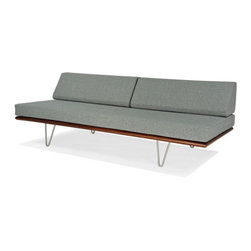 Case Study Day Bed - I love this type of modern furniture with its ultra clean lines and modular function. This daybed can be upholstered in dozens of different fabrics and will function as a guest bed as well. Modular, it can be made into a sectional as well, by adding a corner piece and another unit.