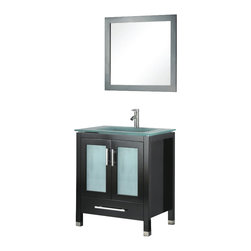 Adorbnus - Adornus AMARA-30-E-G Espresso Vanity - Floor standing, all Wood Vanity. One Piece Frosted Glass top with integrated sink. Frosted Glass Door Inlays.