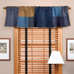 Donna Sharp - Donna Sharp Denim Square Window Valance - The classic patchwork gets a contemporary makeover in the Denim Square window valance. A unique hopscotch pattern richly detailed with geometric stitching in navy, denim, and a warm caramel creates an inviting, cozy feel.