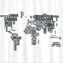 Typography Map Shower Curtain, White - There is nothing better than a map of the world completely made up of words. This white shower curtain features the seven continents created from the names of individual countries.