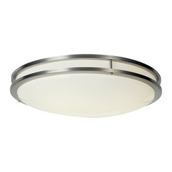 Premier - Round Fluorescent 24 Inch Ceiling Light - Satin Nickel - Premier 614017 Fluorescent Flush Mount, Satin Nickel Finish, 24-Inch D by 5-Inch H. Features: 24-Inch diameter, 5-Inch height. Flush mount fluorescent mount light fixture. Satin nickel finish with stainless trim, white acrylic lens. Uses 1-32 Watt and 1-40 Watt circline lamps (included), UL listed. Electronic ballast.