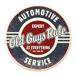 Automotive Service Expert at Everything Metal Sign Wall Decor 14 x 14 - Automotive Service Expert at Everything Metal Sign Wall Decor From the Round Metal Sign licensed collection, this Automotive Service Expert at Everything vintage metal sign measures 14 inches by 14 inches and weighs in at 1 lb(s). This vintage metal sign is hand made in the USA using heavy gauge american steel and a process known as sublimation, where the image is baked into a powder coating for a durable and long lasting finish. It then undergoes a vintaging process by hand to give it an aged look and feel. This vintage metal sign is drilled and riveted for easy hanging.