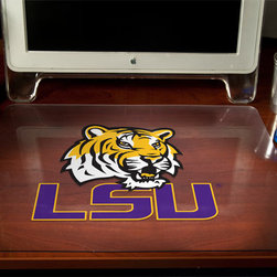 """Decorative Desk Pads - The LSU's mascot was originally named Sheik. A name change occurred to honor athletic trainer Chellis """"Mike"""" Chambers who was instrumental in bringing the Bengal tiger to the school. LSU collected 25 cents from each student for a grand total of $750 to purchase Mike back in 1936."""