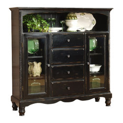 Hillsdale Furniture - Black Rubbed Finish Baker's Cabinet - The Black Finish Storage Cabinet with Curio Side combines fine traditional craftsmanship with exquisitely detailed style! The pleasingly proportioned baker's rack features 4 central storage drawers plus interior storage behind a pair of flanking glass-paned doors. Help your favorite collectibles and showpieces stand out against the rich rubbed black finish of this sturdy baker's cabinet. The rubbed black finish on this beautiful baker's cabinet adds class and style to any home. Perfect for the kitchen or entryway, it features subtle style details and includes 4 drawers and spacious shelving for added storage. * The rubbed black finish on this beautiful baker's cabinet adds class and style to any home.. It's antique look will fit beautifully in nearly any home, and the ample storage it offers will make it as useful as it is pretty.. It is an ideal place to store collectibles, fine china and more, with glass door cupboards.. 4 drawers & additional storage. Rubbed black finish. 60.87H x 60.63W x 17.99D
