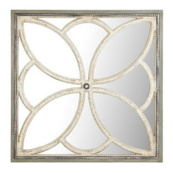 Fleur Mirrored Wall Decor - This mirror is more a piece of art than a functional mirror. I love the floral design, the beaded detailing, the distressed finish, and the combination of white and gray. Oh wait, I guess I pretty much love every single thing about it!
