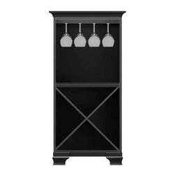 Howard Miller Custom - Ella Cabinet w 1 Rack in Antique Black - This cabinet is finished in Antique Black on select Hardwoods and Veneer. 1 cross storage shelf and 1 stemware rack. Cove profile top and Ogee profile base. 27 1/4 in. W x 17 in. D x 54 3/4 in. H