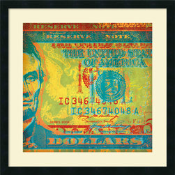 Amanti Art - Dustin Chambers 'Five Bucks II' Framed Art Print 26 x 26-inch - Give your decor a money minded update with this cunningly cropped and colorful currency, \'Five Bucks II\' by Dustin Chambers.