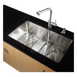 Kraus - 33 in. Undermount 50/50 Double Bowl Stainless Steel Kitchen Sink - Add an elegant touch to your kitchen with a unique and versatile undermount sink from Kraus