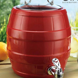Cherry Red Ceramic Barrel Drink Dispenser With Spigot - Not only will this bright red beverage dispenser add color to your table or buffet, it's also a great way to let guests help themselves to lemonade or fruit water.