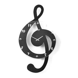 "Musical Clef Wall Clock - The Musical Clef clock features a laser cut steel clef shape with satin aluminum hands protected by a glass face with etched hour numbers and decorative chrome screw caps. The clock measures 21"" high x 12"" wide and operates on one AA battery (not included)."