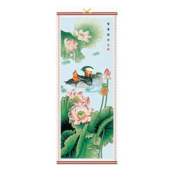 Oriental-Decor - Chinese Ducks Scroll Chinese Scroll - Hello Duckie. These Mandarin ducks symbolize fidelity and love in Asian culture … making this colorful and elegant scroll an appropriate addition to your home should the nesting instinct arise.