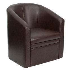 Flash Furniture - Brown Leather Barrel-Shaped Guest Chair - The Perfect Reception, Side, Meeting, Or Lounge Chair