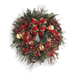 """Frontgate - Glad Tidings Pre-decorated Cordless Christmas Wreath - Frontgate Christmas Decor - High-quality artificial greenery realistically replicates fresh pine, cedar and spruce. The collection is embellished with festive glittered accents, shiny red jingle bells and gold glass ornaments. Lush red velvet ribbon with gold jingle bell accents is layered on taffeta plaid ribbon. Garland, 32"""" Wreath, Swag and Post Spray are pre-decorated with clear lights. Cordless 32"""" Wreath and Centerpiece are pre-decorated with clear LED lights. Oh what fun it is to decorate with the easy elegance of our Glad Tidings Pre-Decorated Greenery. Bursting with holiday cheer in a fresh red-and-green palette, each piece carefully balances the classic sophistication of handmade gold globes and yards of velvet ribbon with the whimsy of spiral picks, gold bells and shoots of metallic red berries.  .  .  .  .  . Cordless items operate on six AA batteries (not included) . Coordinates with our Glad Tidings 60-Piece Ornament Collection . Centerpiece comes with five glass hurricanes that each hold a 4"""" dia. candle (not included) . Each piece arrives expertly assembled; may require some shaping after unpacking . Recommended for indoor use only . 36"""" cords ."""
