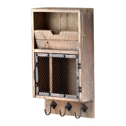 Kathy Kuo Home - Casey Industrial Reclaimed Wood Farmhouse Wall Storage Organizer - Rustic industrial meets serious organization in this wall mounted, wooden beauty.  Hang your keys and coat, stash your mail, and eliminate clutter with ease.  Vintage spaces of every stripe will look a little tidier once this piece is hung.