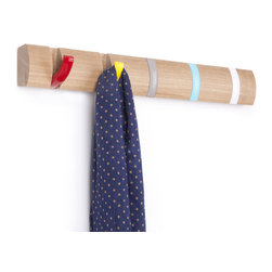 Umbra - Umbra Flip Wood Wall-Mount 5 Hook, Multi-colored - Our Umbra Flip Wall Hook is designed to hold anything from necklaces to coats. This multicolored metal wall rack boasts a clever wooden rack with 5 multi-color hooks that slip neatly into the rack.