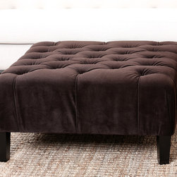 Abbyson Living - Abbyson Living Florence Dark Brown Square Tufted Ottoman - Relax in luxurious style with the Florence Square Tufted Ottoman from Abbyson Living. This functional piece highlights a dark brown, microsuede fabric upholstery, a black finish on the legs and a tufted seating design.