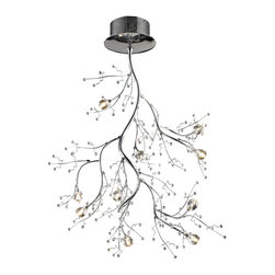 """Elk Lighting - Ten Light Semi Flush Ceiling Fixture - The viviana collection is a modern interpretation of nature with branches of polished chrome and clear glass """"buds"""" at their tips."""