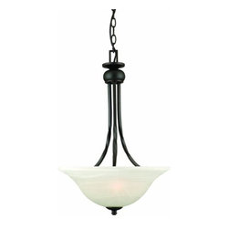 DHI-Corp - Drake 2-Light Pendant, Oil Rubbed Bronze - The Design House 514950 Drake 2-Light Pendant is made of formed steel, alabaster glass and finished in oil rubbed bronze. This pendant's versatile design is applicable for high or low ceilings. As a laid-back alternative to a chandelier, this fixture maintains a sophisticated appeal while delivering indirect light with a pleasing aesthetic. This 2-light pendant is rated for 120-volts and uses (2) 60-watt medium base incandescent bulbs. Measuring 23.6-inches (H) by 15.75-inches (W), this 10-pound fixture comes with a 48-inch chain to extend from high ceilings. Twisted steel accentuates the alabaster glass to create an elegant accent in a bathroom or hallway. This product is UL and CUL listed. The Drake collection features a beautiful matching chandelier, vanity light, mini pendant, wall mount and ceiling mount. The Design House 514950 Drake 2-Light Pendant comes with a 10-year limited warranty that protects against defects in materials and workmanship. Design House offers products in multiple home decor categories including lighting, ceiling fans, hardware and plumbing products. With years of hands-on experience, Design House understands every aspect of the home decor industry, and devotes itself to providing quality products across the home decor spectrum. Providing value to their customers, Design House uses industry leading merchandising solutions and innovative programs. Design House is committed to providing high quality products for your home improvement projects.