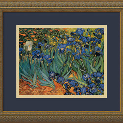 Amanti Art - Irises in the Garden Framed Print by Vincent Van Gogh - Instantly transform your room with a replica of one of the most expensive paintings ever sold. The vibrant hues of Van Gogh's masterpiece are world renowned.  This acrylic reproduction comes ready to hang, with a midnight blue mat and embossed antique gold wood frame. You don't have to be filthy rich to bring this one home!