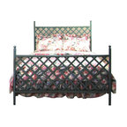 """Grace - Lattice Wrought Iron Headboard - Features: -Linens and mattress are not included.-Artistically crafted in wrought iron.-Painted according to your choice of metal finish.-Distressed: No.-Country of Manufacture: United States.-Gloss Finish: No.-Number of Products in Set: 3.-Powder Coated Finish: No.-Hardware Material: Steel.-Non Toxic: Yes.-Scratch Resistant: No.-Joinery Type: Welded.-Adjustable Height: No.-Lighting Included: No.-Wall Mounted: No.-Reversible: No.-Media Outlet Hole: No.-Built In Outlets: No.-Finished Back: Yes.-Hidden Storage: No.-Freestanding: No.-Frame Required: Yes.-Frame Included: No.-Drill Holes for Frame: Yes.-Swatch Available: Yes.-Eco-Friendly: No.-Product Care: Wipe clean with a dry cloth,"""" """"Do not use strong liquid cleaners."""".-Commercial Use: Yes.-Recycled Content: No.Specifications: -FSC Certified: No.-EPP Compliant: No.-CPSIA or CPSC Compliant: No.-JPMA Certified: No.-ASTM Certified: No.-ISTA 3A Certified: No.-PEFC Certified: No.-General Conformity Certificate: No.-Green Guard Certified : No.Dimensions: -Leg Height: 7.5"""".-Leg Width - Side to Side: 1.25"""".-Leg Depth - Front to Back: 1.25"""".-Top of Headboard to Bed Frame: 45.5"""".-Bottom of Headboard to Floor: 22"""".-Overall Depth - Front to Back (Size: Twin): 80"""".-Overall Product Weight (Size: Twin): 125 lbs.-Overall Depth - Front to Back (Size: Queen): 84"""".-Overall Product Weight (Size: Queen): 160 lbs.-Overall Depth - Front to Back (Size: King): 84"""".-Overall Product Weight (Size: King): 184 lbs.-Overall Depth - Front to Back (Size: Full): 80"""".-Overall Product Weight (Size: Full): 144 lbs.Assembly: -Assembly Required: Yes.-Tools Needed: 7/16 Wrench or nut driver.-Additional Parts Required: No.Warranty: -Product Warranty: 1 Year."""