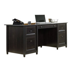 Sauder - Sauder Edge Water Executive Desk in Estate Black - Sauder - Computer Desks - 409042 - Sure, lots of office and home furnishing manufacturers can help you create an organized, comfortable and fashionable place to live. But Sauder provides a special kind of furniture that is practical and affordable, as well as attractive and enduring. As North America's leading producer of ready-to-assemble furniture, we offer more than 500 items that have won national design awards and generated thousands of letters of gratitude from satisfied consumers.