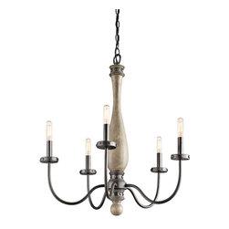 Joshua Marshal - Five Light Distressed Antique Gray Up Chandelier - Five Light Distressed Antique Gray Up Chandelier