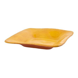 R. Wood Studios - Ceramic Square Server, Gold - A square of simplistic style. This server can be used for cheese, crudités or even as a centerpiece.  These colorful ceramics inspired by the south are entirely made by hand and bring a wonderful, casual sophistication to any table.  A personal favorite of many of of us at Lila Mae, these beautiful and functional pieces will bring you years of service and beauty.