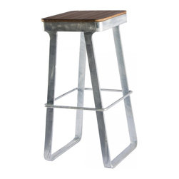 Flint Bar Stool, Galvanized - This stool is really unique. It has wood slats on a galvanized metal base.