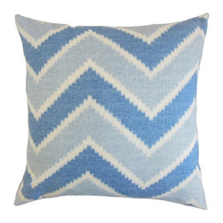 """The Pillow Collection - Hoku Zigzag Pillow, Indigo 20"""" x 20"""" - Lend a playful aesthetic to your living space with this throw pillow."""