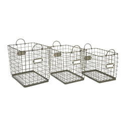 IMAX Worldwide Home - Newbridge Wire Storage Baskets - Set of 3 - Set of 3. Material: 100% Wire. 17-15.25-13.25 in. H x 22-20-18 in. W x 15-13.5-11.5 in. . Weight: 18.7 lbs.Great for linens, magazines and many other items, this collection of Newbridge wire baskets is perfect for a variety of storage uses.