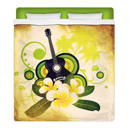 Hawaiian Plumeria and Guitar Queen Size Surfer Bedding Sheet Set - Feel Dreamy In Our Twin Size Hawaiian Plumeria and Guitar Sheet Set! Sheets are made of a lightweight microfiber for the ultimate experience in softness~ extremely breathable!
