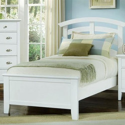Vaughan Bassett - 3 Pc Twin Size Arched Panel Bedroom Set in Sn - Includes twin size panel bed, nightstand and chest. Snow White finish. Assembly required. Twin size panel bed:. Includes arched headboard, platform footboard and wood rails. Arched headboard: 45 in. L x 2.5 in. W x 52 in. H. Platform footboard: 42 in. L x 2.5 in. W x 21 in. H. Wood rails: 74 in. L x 6 in. W x 1 in. H. Nightstand:. 2 Drawers. 26 in. W x 16 in. D x 29 in. H. Chest:. 5 Drawers. 38 in. W x 18 in. D x 51 in. H. Under bed storage box: 52 in. L x 19 in. W x 7.5 in. H (optional)