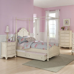 Homelegance - Homelegance Cinderella 3 Piece Canopy Poster Bedroom Set in Antique White - The Cinderella Collection is your little girl's dream. The Victorian styling incorporates floral motif hardware  antique ecru finish and traditional carving details that will create the feeling of a room worth of a fairy tale princess. A canopy bed completes the fantasy of this whimsical collection. Turned posts reach for the heights and are topped with carved finials. The additional trundle provides the extra sleeping space for princesses visiting from other kingdoms. Also available in dark cherry finish.