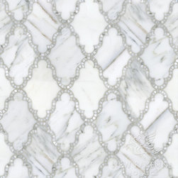 Silk Road Collection - Dervish - Dervish, a natural stone waterjet and hand cut mosaic shown in polished Calacatta Tia, is part of the Silk Road Collection by Sara Baldwin for New Ravenna Mosaics.