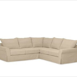 """PB Comfort 3-Piece L Shaped Sectional Slipcovers, Twill Camel - Designed exclusively for our PB Comfort Sectional, these soft, inviting slipcovers retain their smooth fit and remove easily for cleaning. Left 3-Piece Sectional with Box Cushions shown. Select """"Living Room"""" in our {{link path='http://potterybarn.icovia.com/icovia.aspx' class='popup' width='900' height='700'}}Room Planner{{/link}} to select a configuration that's ideal for your space. This item can also be customized with your choice of over {{link path='pages/popups/fab_leather_popup.html' class='popup' width='720' height='800'}}80 custom fabrics and colors{{/link}}. For details and pricing on custom fabrics, please call us at 1.800.840.3658 or click Live Help. All slipcover fabrics are hand selected for softness, quality and durability. Left-arm configuration is shown; also available in right-arm configuration. {{link path='pages/popups/sectionalsheet.html' class='popup' width='720' height='800'}}Left-arm or right-arm configuration{{/link}} is determined by the location of the arm on the love seat as you face the piece. This is a special-order item and ships directly from the manufacturer. To see fabrics available for Quick Ship and to view our order and return policy, click on the Shipping Info tab above. Watch a video about our exclusive {{link path='/stylehouse/videos/videos/pbq_v36_rel.html?cm_sp=Video_PIP-_-PBQUALITY-_-SUTTER_STREET' class='popup' width='950' height='300'}}North Carolina Furniture Workshop{{/link}}."""