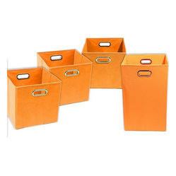 Bold Solid Orange Organization Bundle- 3 Storage Bins, 1 Laundry Hamper