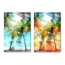 READY2HANGART.COM - Ready2hangart Alexis Bueno Modern Paradise (2-PC) Canvas Wall Art Set - This abstract paradise canvas set was inspired by the Caribbean Island of Tortola; full of depth and light. It is fully finished, arriving ready to hang at your home or office.