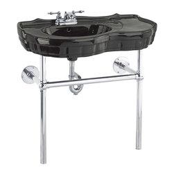 Renovators Supply - Console Sinks Black Southern Belle Sink Bistro Chrome 4'' - Console Sinks: SOUTHERN BELLE