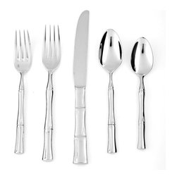 Frontgate - Royal Multicolored Flatware 5-piece Place Setting - Stainless steel includes 18% chrome and 10% nickel, making it the most luminous and hard-wearing blend of stainless available. 18/10 blend provides notable heft for a bold feel. Includes salad fork, dinner fork, knife, soup spoon, and teaspoon. Dishwasher safe. Our Royal Pacific Five-piece Place Setting adds an exotic look with its bamboo handle design. The set brings long-lasting performance with its heavy-gauge 18/10 stainless steel construction. Safe in the dishwasher, these utensils are durably built for everyday use while stylish enough to pair with any occasion.. . . .