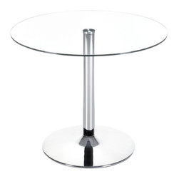 """Zuo Modern - Round Glass Top Table w Chrome Steel Column & - This chic round glass top table is perfect for your cocktail or lounging room.  Featuring a dependable, clear tempered glass top and modernly constructed chromed steel column and base, you'll feel confident setting everything from your favorite magazines to your favorite mixed drinks on this piece. * Clear Tempered Glass Top. Chromed Finished Steel Column & Base. 29.5"""" H x 23"""" W. Top: 39"""" DiaYour classic round dining table gets a modern update with a clear tempered glass top and a chromed steel tube center and base. The Galaxy table brings modern class to any eating area: kitchen, dining, or break rooms."""