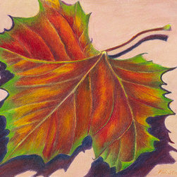 In All My Colors (Original) by Mary Ann Stafford - Walking in early fall, I saw this single sycamore leaf was lying in my path.  It's colors were brilliant, and I knew it would soon turn to brown and wither, so I picked it up and took it home where I photographed it and then drew it in colored pencil.  It speaks of the fleeting beauty of nature, and of all life -- here today, gone tomorrow.