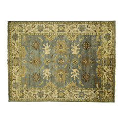 Manhattan Rugs - New Hand Knotted Oriental Oushak 9'x12' Blue & Ivory Turkish Wool Area Rug H3490 - This is a true hand knotted oriental rug. it is not hand tufted with backing, not hooked or machine made. our entire inventory is made of hand knotted rugs. (all we do is hand knotted)
